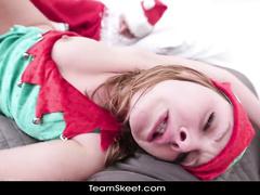 Santa is naughtily fucking teen elf girl