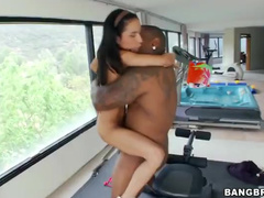 Strong big black dick did not scared young brunette