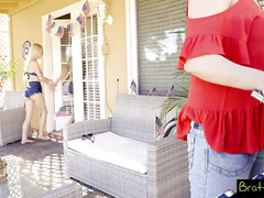 Slutty blonde sisters are fucking their stepbrother behind mom's back