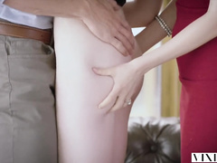 Young brunette enjoys ffm threesome with redhead girlfriend and her husband