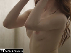 Skinny redhead chick Anya Olsen hotly excites her black boyfriend with deepthroat blowjob