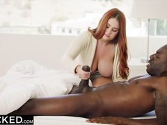 Young ginger babe with appetizing buxom body enjoys interracial hardcore