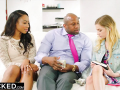 Naughty black chick shares her husband with her white girlfriend