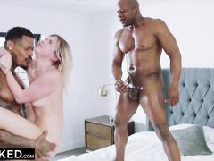 Sweet blonde slut Khloe Kapri enjoys interracial mmf threesome fuck