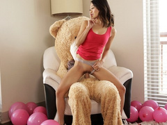 Skinny brunette fucks with her Valentine's day present without suspecting that it is a stepbrother