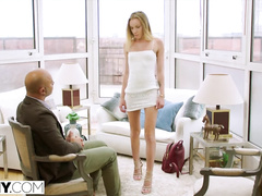 Skinny tall blonde beauty pleases bald man with blowjob and gets fucked in the ass