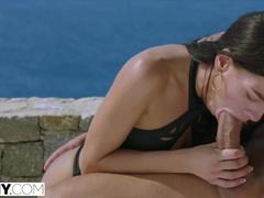 Wonderful skinny brunette sucks big dick by the pool and enjoys anal fuck