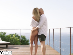 Skinny slender shaped blonde chick enjoys anal fuck on balcony
