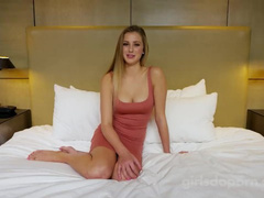 Beautiful blonde in hot dress demonstrates awesome deepthroat blowjob at porn casting