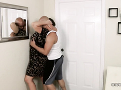 Young dude bend his stepmother and pulls up her leg to fuck milf pussy