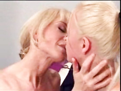 Blonde granny fucks hot blonde milf with strapon sex toy