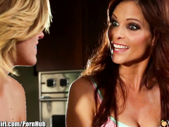 Perverted milf is teaching her stepdaughter lesbian sex and cunnilingus