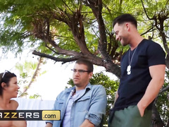 Incredible brunette milf Alexis Fawx satisfies two cops and enjoys rough mmf threesome